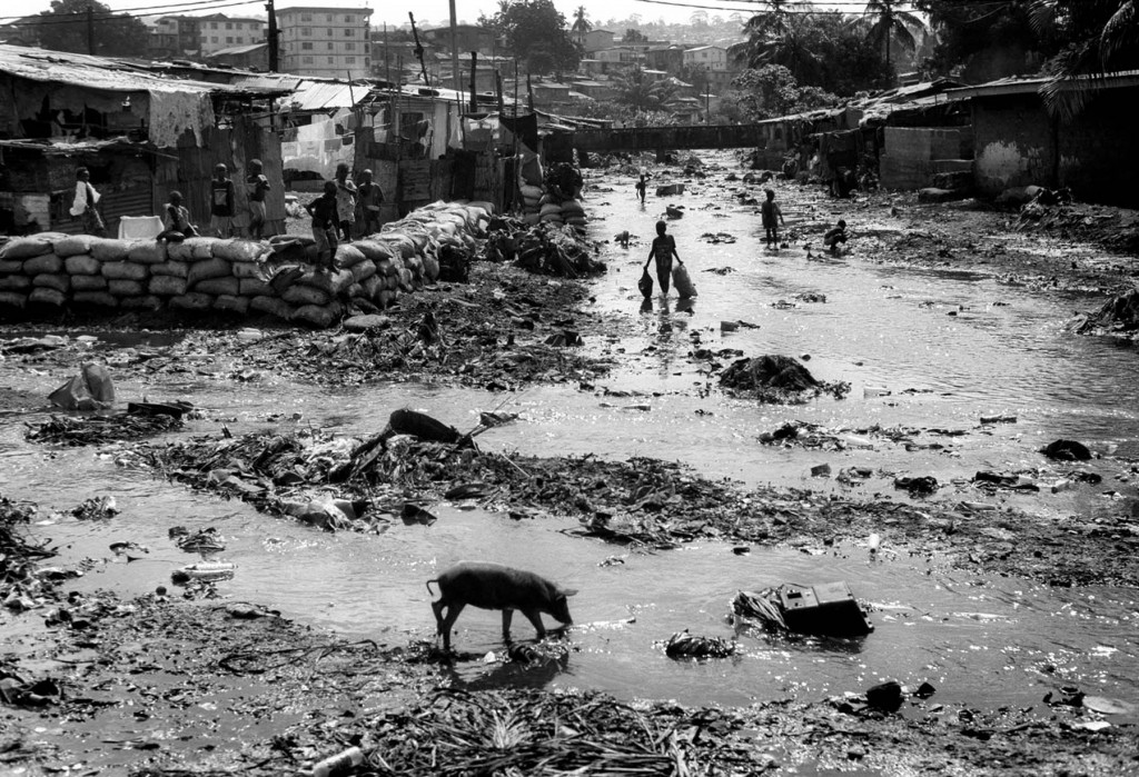 October 2007 Freetown, Sierra Leone. Kroo Bay is a sprawling slum in the city centre of Freetown, Sierra Leone's capital.  Home to over twenty thousand people, the shantytown sits amid mounds of mud and rubbish. Kroo Bay's most severe problems are water-related. Crossed by the Crocodile River, the slum is marked by filthy streams that people cross to go back home and pigs grub for food.